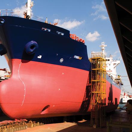 Huge cargo ship at docks
