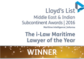 Maritime Lawyer of the Year. Also won in 2013